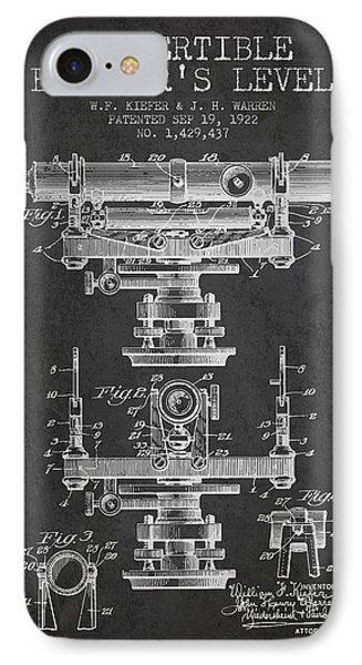 Convertible Builders Level Patent From 1922 -  Charcoal IPhone Case by Aged Pixel