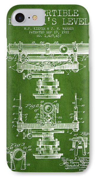 Convertible Builders Level Patent From 1922 -  Green IPhone Case by Aged Pixel