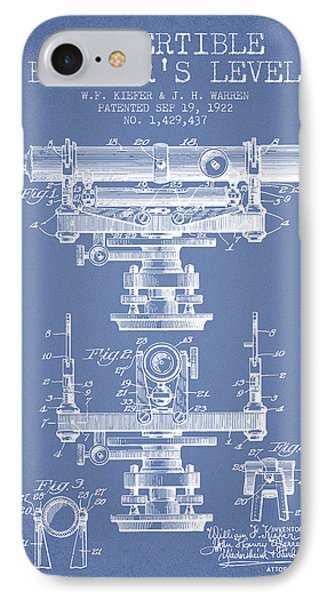 Convertible Builders Level Patent From 1922 -  Light Blue IPhone Case by Aged Pixel