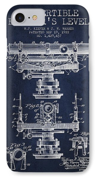 Convertible Builders Level Patent From 1922 -  Navy Blue IPhone Case