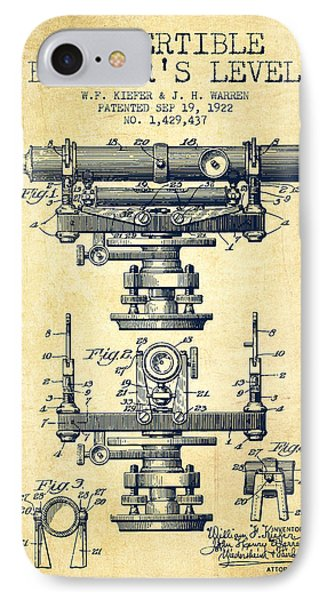 Convertible Builders Level Patent From 1922 -  Vintage IPhone Case by Aged Pixel