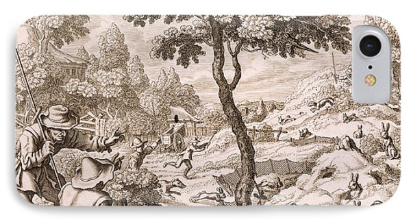 Cony Catching, Engraved By Wenceslaus IPhone Case by Francis Barlow