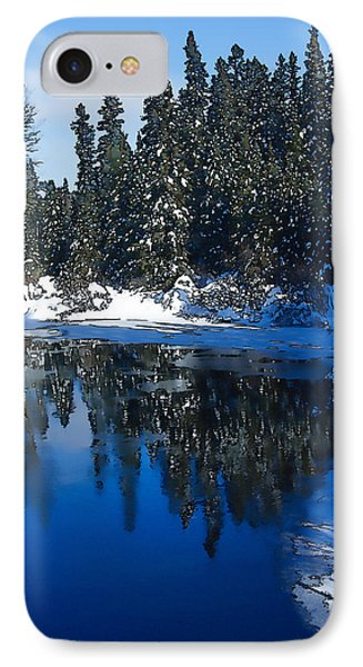 Cool Blue Shadows - Riverbank Winter IPhone Case