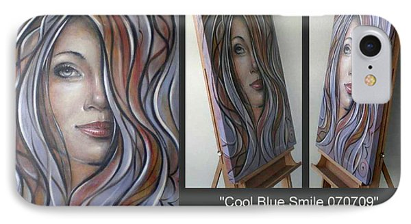 IPhone Case featuring the painting Cool Blue Smile 070709 Comp by Selena Boron