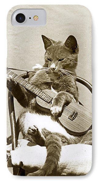 IPhone Case featuring the photograph Cool Cat Playing A Guitar Circa 1900 Historical Photo By Photo  Henry King Nourse by California Views Mr Pat Hathaway Archives