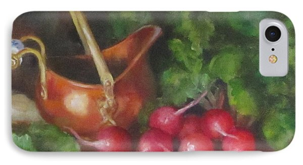 IPhone Case featuring the painting Copper Pot And Radishes Still Life Painting by Cheri Wollenberg