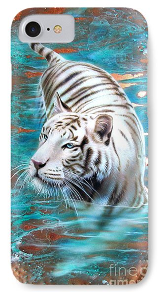 Copper White Tiger IPhone Case by Sandi Baker