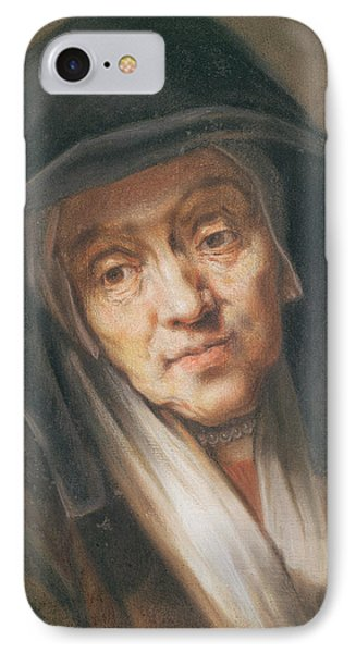 Copy Of A Portrait By Rembrandt Of His Mother, 1776 Pastel On Paper IPhone Case by Jean-Baptiste Simeon Chardin