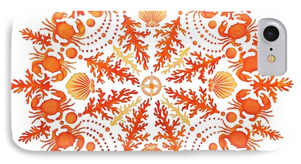 Coral Crab Mandala IPhone Case by Stephanie Troxell