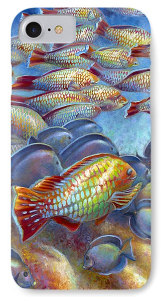 IPhone Case featuring the painting Coral Reef Life I by Nancy Tilles