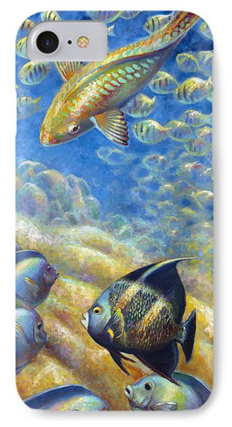IPhone Case featuring the painting Coral Reef Life IIi by Nancy Tilles