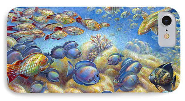 IPhone Case featuring the painting Coral Reef Life by Nancy Tilles