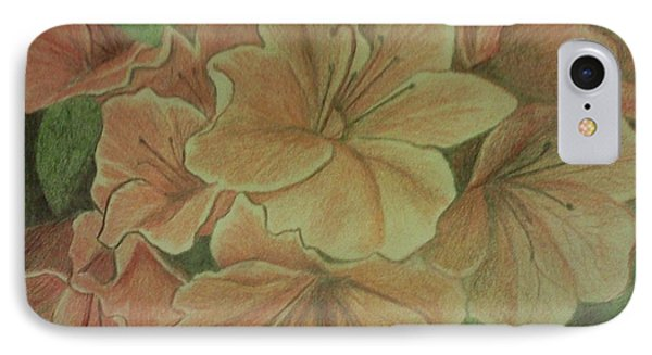 IPhone Case featuring the drawing Coral Sunburst Azaleas by Christy Saunders Church