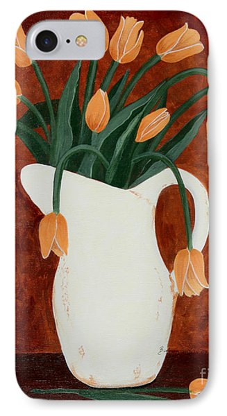 Coral Tulips In A Milk Pitcher Phone Case by Barbara Griffin