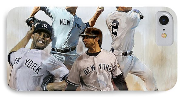 Core  Derek Jeter Mariano Rivera  Andy Pettitte Jorge Posada IPhone 7 Case by Iconic Images Art Gallery David Pucciarelli