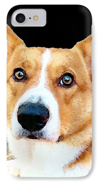 Corgi Art - Pensive  IPhone Case by Sharon Cummings