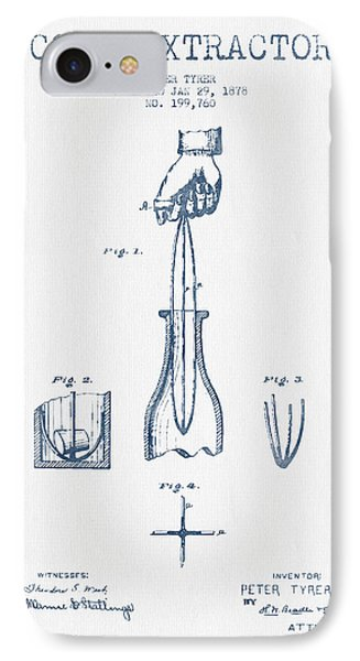 Cork Extractor Patent Drawing From 1878- Blue Ink IPhone Case by Aged Pixel