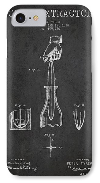 Cork Extractor Patent Drawing From 1878 - Dark IPhone Case