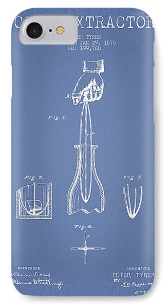 Cork Extractor Patent Drawing From 1878 -light Blue IPhone Case by Aged Pixel