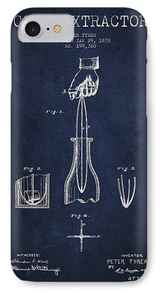 Cork Extractor Patent Drawing From 1878 -navy Blue IPhone Case by Aged Pixel