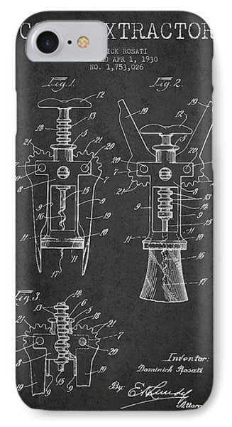 Cork Extractor Patent Drawing From 1930 - Dark IPhone Case