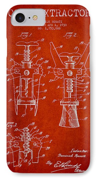 Cork Extractor Patent Drawing From 1930 - Red IPhone Case by Aged Pixel