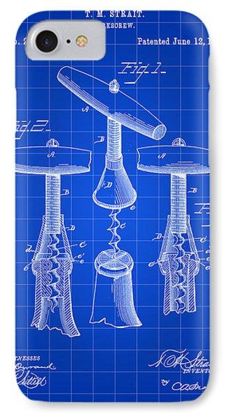 Corkscrew Patent 1883 - Blue IPhone Case