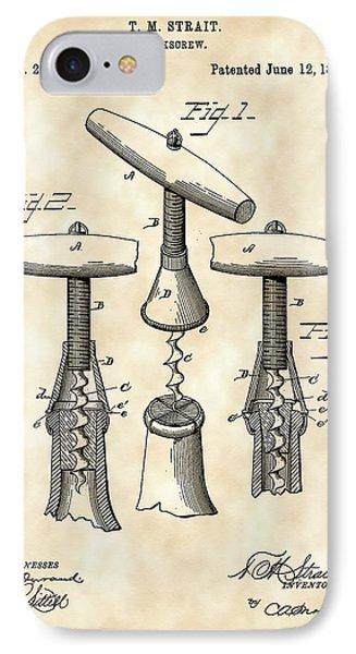 Corkscrew Patent 1883 - Parchment IPhone Case