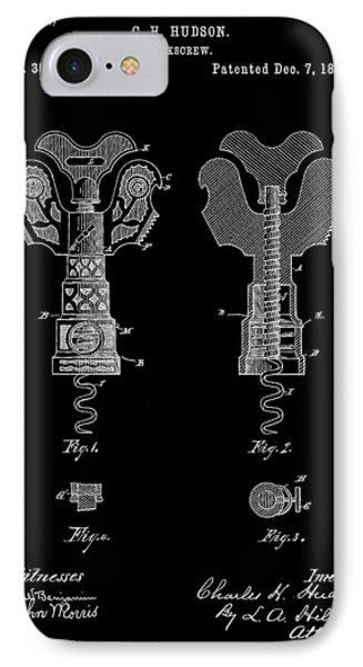 Corkscrew Patent 1886 - Black IPhone Case