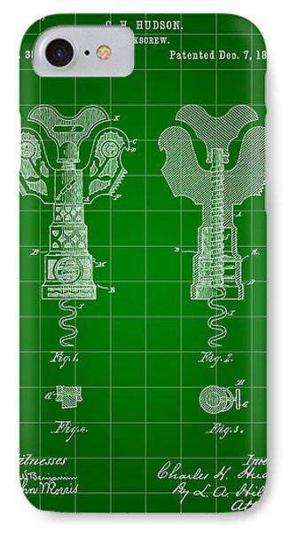 Corkscrew Patent 1886 - Green IPhone Case