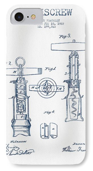 Corkscrew Patent Drawing From 1862 - Blue Ink IPhone Case by Aged Pixel