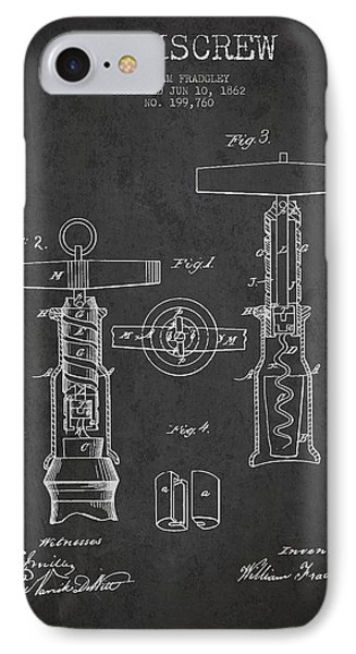 Corkscrew Patent Drawing From 1862 - Dark IPhone Case by Aged Pixel