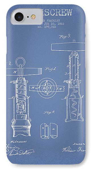 Corkscrew Patent Drawing From 1862 -light Blue IPhone Case by Aged Pixel