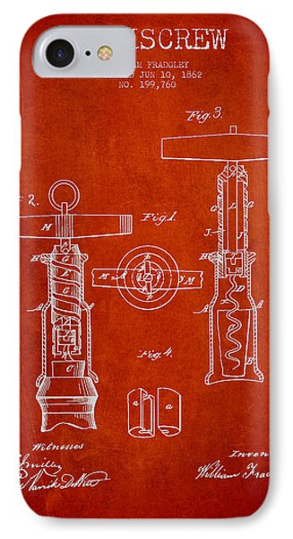 Corkscrew Patent Drawing From 1862 - Red IPhone Case by Aged Pixel