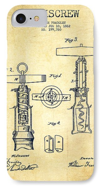 Corkscrew Patent Drawing From 1862 -vintage IPhone Case by Aged Pixel