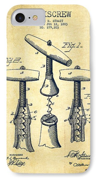 Corkscrew Patent Drawing From 1883 - Vintage IPhone Case