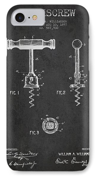 Corkscrew Patent Drawing From 1897 - Dark IPhone Case by Aged Pixel