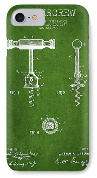 Corkscrew Patent Drawing From 1897 - Green IPhone Case by Aged Pixel