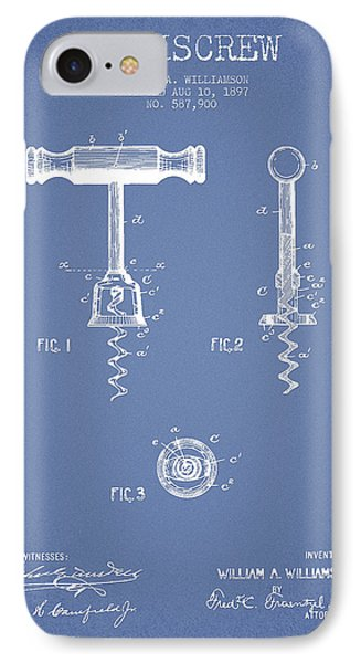 Corkscrew Patent Drawing From 1897 - Light Blue IPhone Case by Aged Pixel