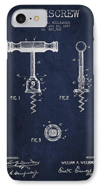 Corkscrew Patent Drawing From 1897 - Navy Blue IPhone Case by Aged Pixel