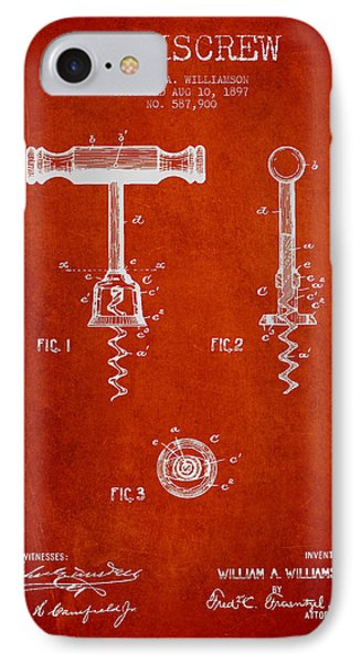 Corkscrew Patent Drawing From 1897 - Red IPhone Case by Aged Pixel