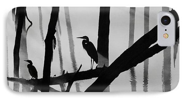 Cormorant And The Heron  Bw IPhone Case by Roger Becker