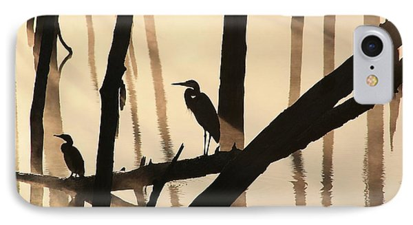 Cormorant And The Heron IPhone Case by Roger Becker