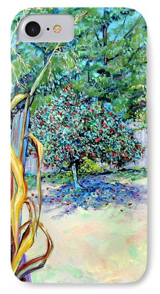 IPhone Case featuring the painting Corn Stalk And Apple Tree  Autumn Lovers by Asha Carolyn Young