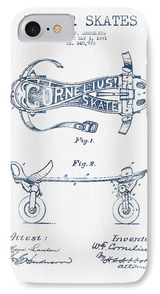 Cornelius Roller Skate Patent Drawing From 1881  - Blue Ink IPhone Case