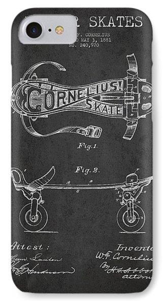 Cornelius Roller Skate Patent Drawing From 1881 - Dark IPhone Case