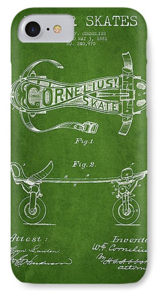 Cornelius Roller Skate Patent Drawing From 1881 - Green IPhone Case