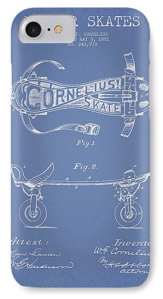 Cornelius Roller Skate Patent Drawing From 1881 - Light Blue IPhone Case