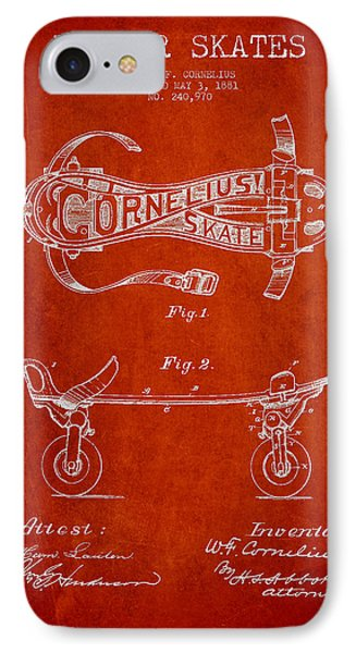 Cornelius Roller Skate Patent Drawing From 1881 - Red IPhone Case