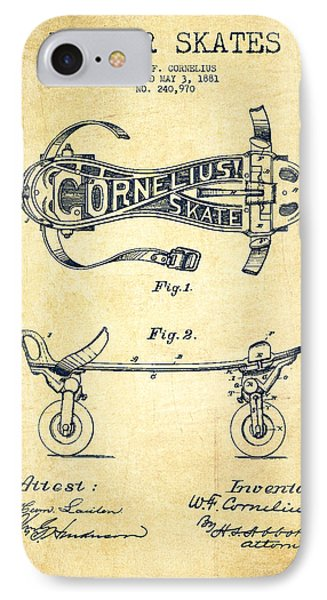 Cornelius Roller Skate Patent Drawing From 1881 - Vintage IPhone Case